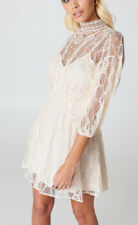 Free People OB750824 Bittersweet 3/4 Length Sleeve Mini Lace Dress Cream Size 6