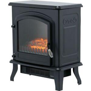 BeModern Colman Freestanding Electric Stove Fire in Black, log effect