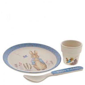 Beatrix Potter Peter Rabbit Bamboo Egg Cup Dinner Set Christening Boy A29638