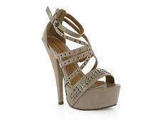 Beige Suede With Patent Detail Triple Strap Diamante Heels UK4 EU37 JS07 48