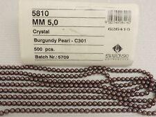 SWAROVSKI® Crystal Pearls,Article #5810 5mm, BURGUNDY, EIGHTY(80) Glass Pearls