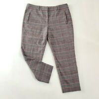 Hush Multicolor Grey Plaid Tartan Style Cropped Tapered Chino Trousers Size 14