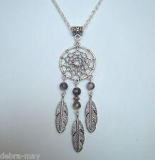"Dreamcatcher Dragons Vein Agate Feather Charm Pendant 32"" Long Chain Necklace"