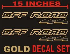 4x4 OFFROAD Truck Bed Decals, GOLD METALLIC Set for Ford F-150 & Super Duty