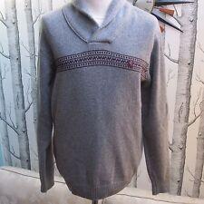 Gabicci Vintage Pullover Jumper Knit Wooly Grey Wrap Neck Men's Size M Medium
