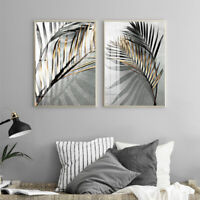 KQ_ Leaves Shadow Canvas Painting Art Home Bedroom Picture Poster Wall Decor Sig