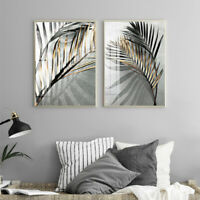 KQ_ IC- Leaves Shadow Canvas Painting Art Home Bedroom Picture Poster Wall Decor