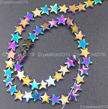 Natural Hematite Gemstone Flat Star Beads 6mm 8mm 10mm Black Silver Gold 16""
