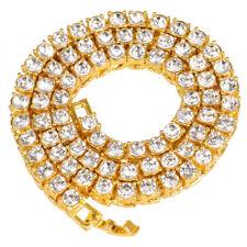 Men Diamond Hip Hop Tennis Necklace Choker Chain Gold Plated 18