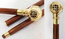 Solid Golden Handle Design Brass Wooden Walking Shaft Stick Vintage Style Cane