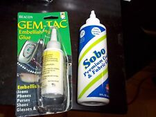 2 CRAFT SEWING FABRIC GLUES BEACON GEM-TAC 2 OZ EMBELLISHING & SOBO 8 OZ PREMIUM