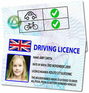 Personalised Novelty Childrens Kids (PVC Plastic) Driving Licence - 6 Designs