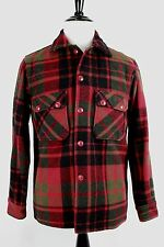 VTG 1950s Woolrich Woolen Mills Red Black Green Plaid Mothproof Mackinaw Jckt 42