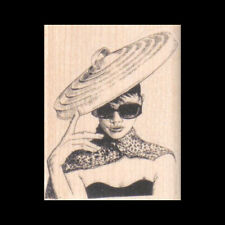 WOMAN IN HAT Rubber Stamp Glamorous WOMAN IN SUNGLASSES Wearing Garbage Can Lid