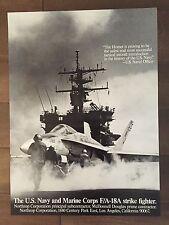 Glossy Black & White F/A-18A Hornet Aircraft Poster- circa 1990s