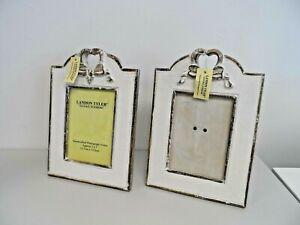 2 x Landon Tyler Natural Interiors White Washed Rustic Photo Frames 5 x 7   B60