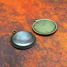 "10 QTY - 25mm 1"" Inch FILIGREE ANTIQUE BRASS Pendant Tray Bezel & DOME GLASS"
