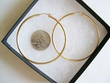 Very Large 14k Yellow Gold-Filled Hoop Earrings 58x2.3mm