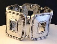Designer Stretch Bracelet Antiqued Silver Tone Geometric Design Premier Chic 8G