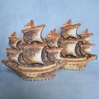 Vintage 60s 70s Nautical Ship Ceramic Wall Pocket Set Pair Sailing Ship Japan 2