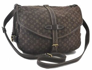 Louis Vuitton Monogram Mini Lin Saumur 30 Shoulder Cross Body Bag Brown LV C2794