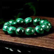 Fashion 12mm Green Malachite Round Gemstone Beads Stretch Bracelet Bangle