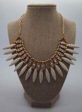 LUCKY BRAND Gold Tone Jeweled Beaded Aztec Tribal Statement Bib Necklace