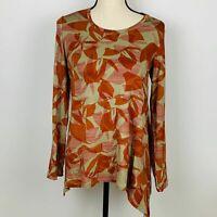 LOGO by Lori Goldstein Orange Tan Geometric Long Sleeve Asymmetrical Top Small