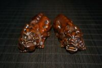 """4.3"""" Collect Chinese Box-wood Hand Carved Brave Troops Pixiu wealth Statue pair"""