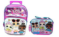 "LOL SURPRISE! Large 16"" inches Rolling Backpack & Lunch Box New Licensed Product"