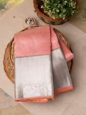 Peach Kanchipuram Silk Saree Diwali Gift for her Sari Blouse Indian Clothing