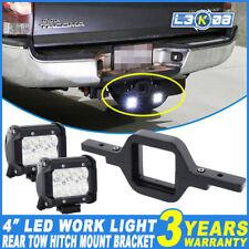 2x 4inch 30W PHILIPS LED Work Light Flood + Rear Tow Hitch Mount Bracket Reverse