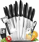 Stainless Steel Knife Set with Block 17 Piece Set Kitchen Knives Set Chef Knife
