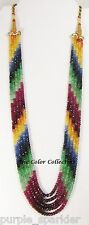 5 STRAND NATURAL RUBY~EMERALD~SAPPHIRE BEAD NECKLACE~258.00 CARATS