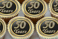 24 X 50TH BIRTHDAY ANNIVERSARY EDIBLE CUPCAKE TOPPERS THICK RICE PAPER 1174