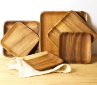 Wooden Tray Dinner Plates Food Dessert Containers Eco-friendly Meal Dishes Tools