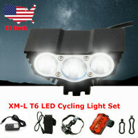 Rechargeable T6 Mountain Bike Lights 18650 Bicycle Torch Front &Rear Lamp Set US