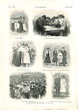 La marche des midinettes sport femmes trajet de Paris à Nanterre GRAVURE 1903