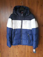 RRP £170 TOMMY HILFIGER MENS COAT Blue Colour Block Quilted Puffer Jacket XS NEW
