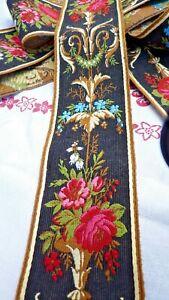 Ancien ruban 1m St Etienne XIXème, broderie ancienne fil de soie style Louis XVI