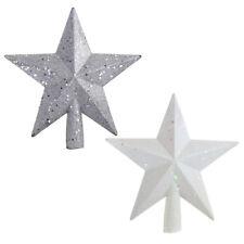 Glitter Star Plastic Christmas Tree Topper, White/Silver, 8-Inch, 2-Piece