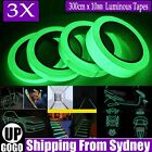 3x Luminous Tapes Self-adhesive Safety Home Decor Glow In The Dark 300cmx10mm Au