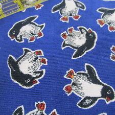 Penguin Royal Blue Corduroy baby print cotton fabric Bthy half yard cut