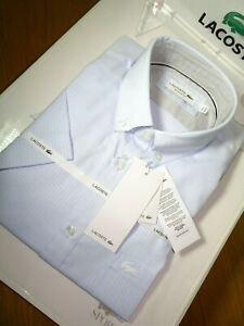 Lacoste Herren Kurzarmhemd Regular Fit Baumwolle Shirt FR 40 Medium £ 110