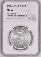 :1906 KEY-DATE BRAZIL SILVER 2000R REIS KM# 508 NGC MS-62 LOW-POP HIGHEST-GRADES
