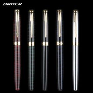 5 Colors BAOER 388 Metal Fountain Pen Fine 0.5mm Nibs School Office Supplies New