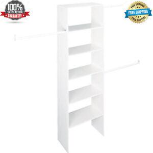 """VERTICAL CLOSET ORGANIZER 24"""" Storage Shelf System Clothes Shelves Rods White"""