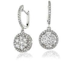 Diamond Drop Earrings 1.15ct F VS in 18ct White Gold