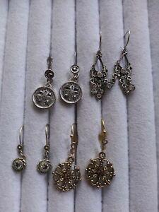 Vintage Style Rhinestone Pierced Earring Lot.  1 pr rolled gold