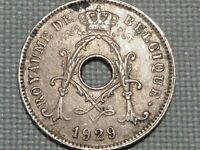 Belgium 1929 10 Centimes Albert I Crowned Monogram Olive Branches French Legend